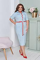 Женское приталенное платье миди на пуговицах с поясом батал, фото 1