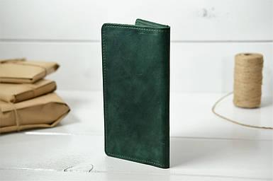 """Кожаный кошелек """"Лонг Тревел"""", Винтажная кожа, цвет Зеленый"""