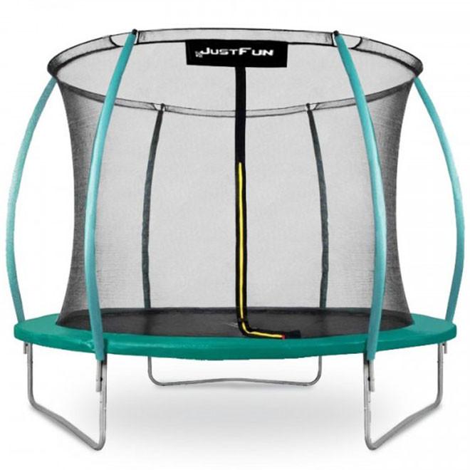 Батут Just Fun 312 см Premium Fiberglass Green с защитной сеткой и лестницей уличный домашний для детей