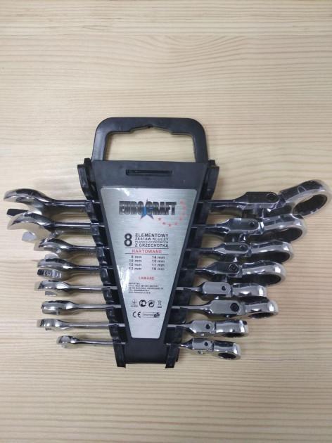 Набор рожково-накидных ключей с трещеткой на кардане  Euro Craft 8шт