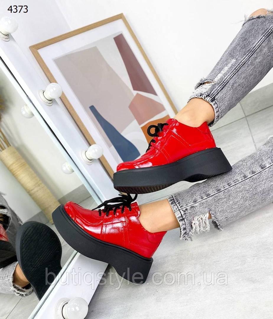 Женские красные ботинки натуральная лаковая кожа  Деми