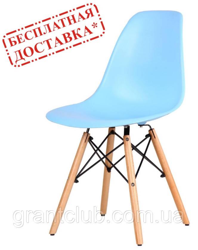 Стул Aster PL Wood голубой пластик AMF (бесплатная адресная доставка)