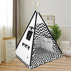 Детская игровая палатка Littledove RT-SJQ Черный зигзаг вигвам домик для детей