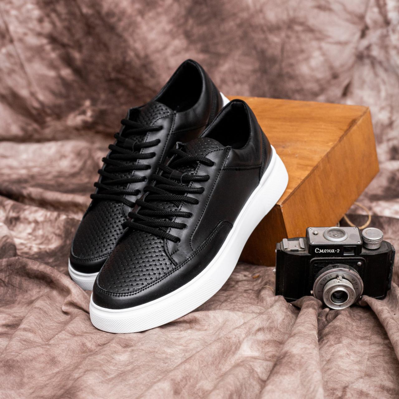Чоловічі кросівки Форест (чорні з білою підошвою)