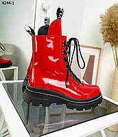 Женские кожаные лаковые демисезонные ботинки 36-41 р красный, фото 1