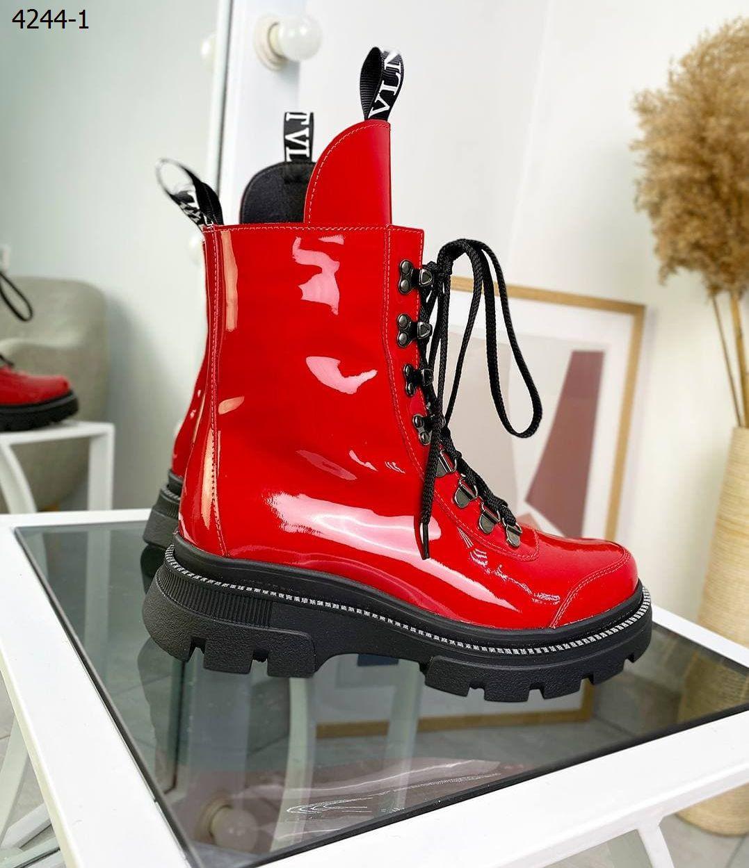 Женские кожаные лаковые демисезонные ботинки 36-41 р красный
