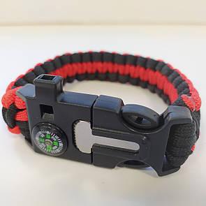 Паракордовый браслет для выживания с огнивом свистком компасом. EDC браслет из паракорда черный с красным