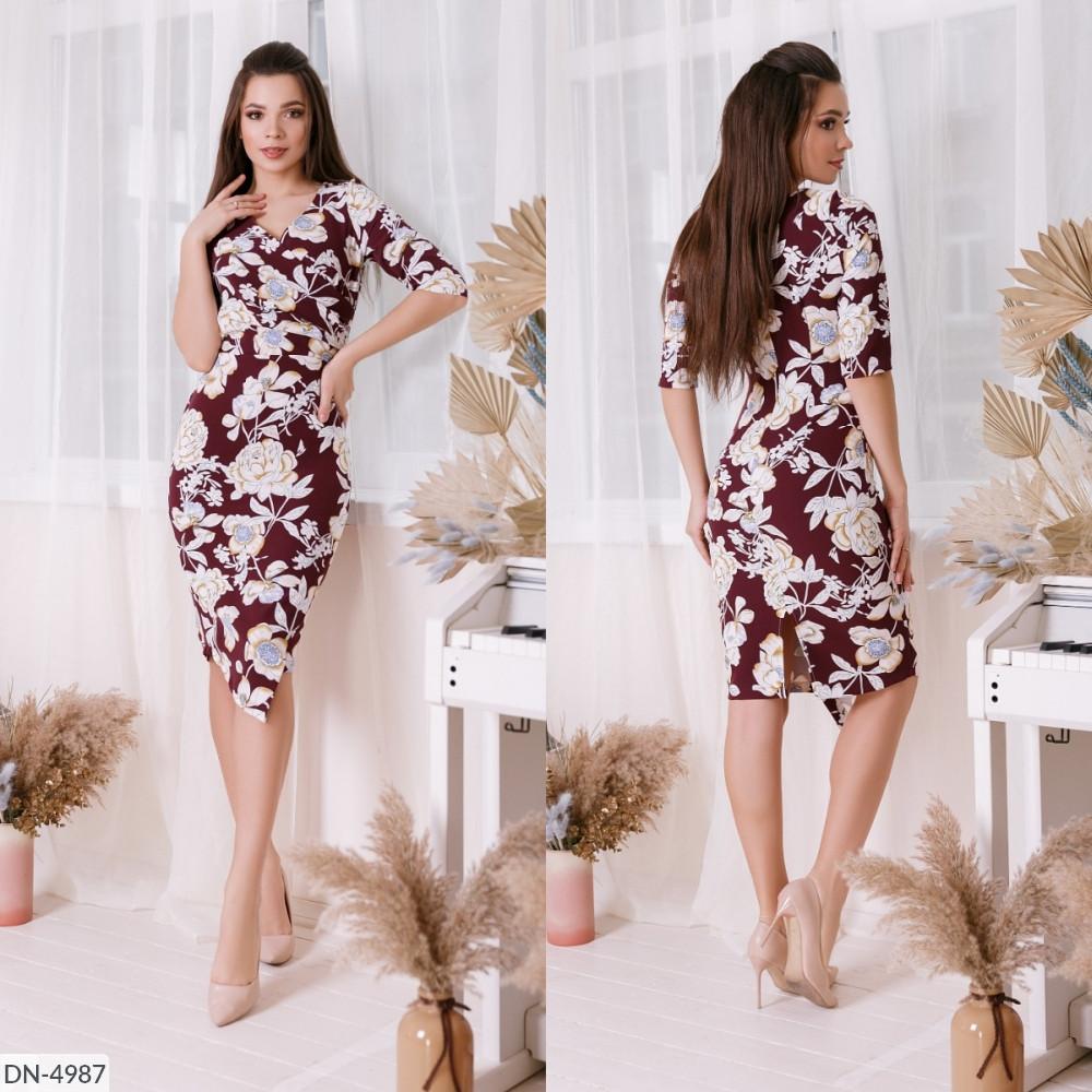 Сукня з квітковим принтом, верх на запах і асиметричний низ, №212, марсала, 42-46р.
