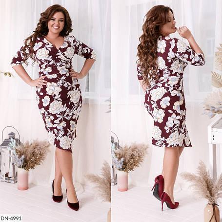 Платье с цветочным принтом, верх на запах и асимметрический низ, №212, марсала, 48-58р., фото 2