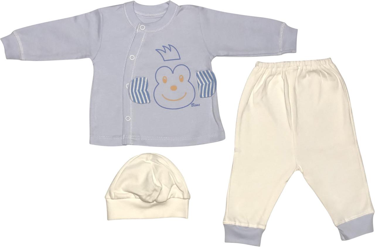Костюм на хлопчика зростання 62 2-3 міс для новонароджених малюків комплект дитячий трикотажний бавовна блакитний
