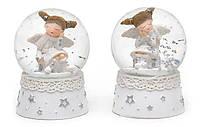 """Снежный новогодний шар """"Девочка с крыльями в белом"""" (полирезина), 5 см, 5x5x6.5см"""