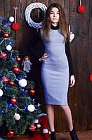 Женское платье с контрастными рукавами
