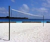 Сетка для пляжного волейбола безузловая 1.0*8.5м, яч. 100х100мм, нить 2,8мм, (белый/зелёный), полиамид