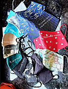 Багаторазова 3х шарова захисна тканинна маска з наносником 250 відтінків, 5 розмірів
