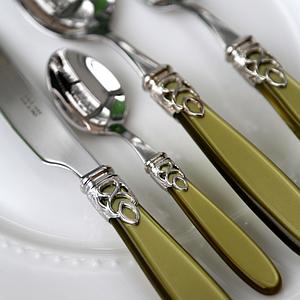 Набор столовых приборов 24 предмета GIOIELLO STEEL OLIVE GREEN