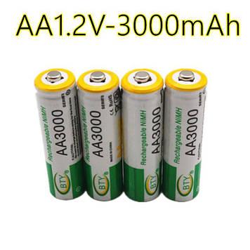 Акумуляторні батарейки BTY AA 3000mAh 1,2V Ni-MH перезаряджаємі (4 шт)