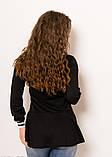 Чорний тонкий трикотажний батник з баскою і смугастим коміром S, фото 3