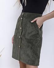Вельветова спідниця кольору хакі на гудзиках S M L XL