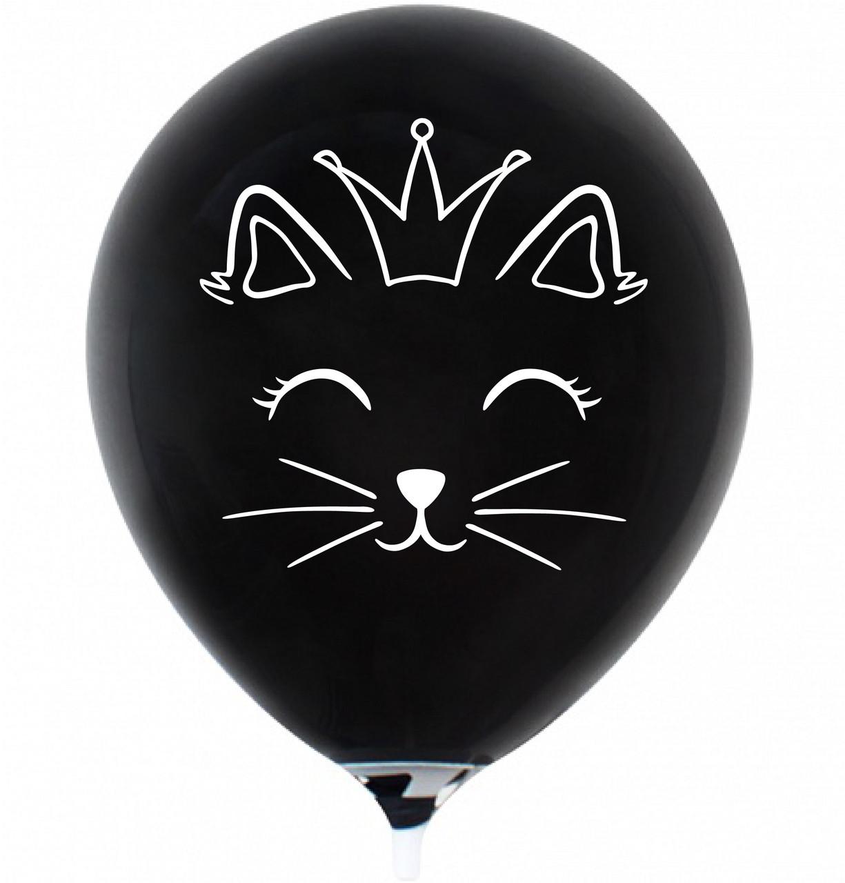 """Латексна кулька 12"""" чорна з малюнком """"Котик з короною"""" (КИТАЙ)"""