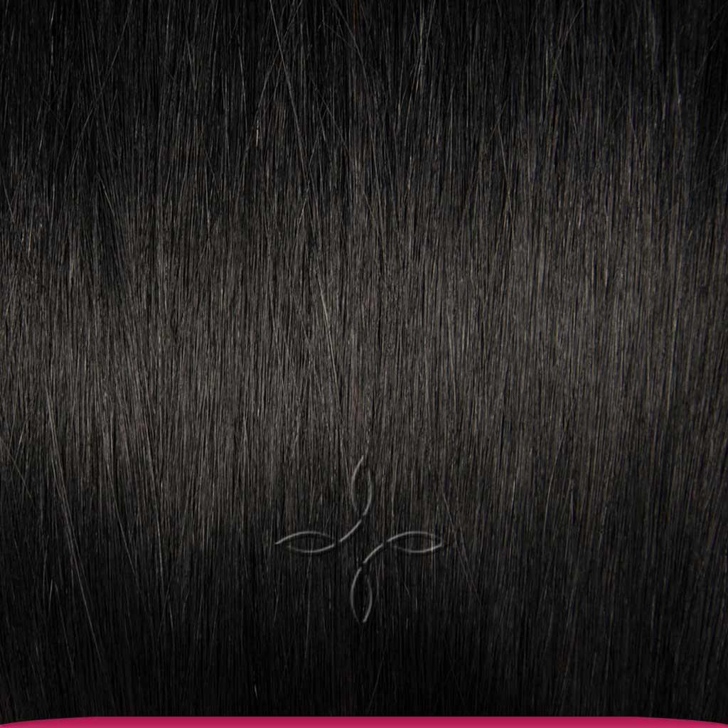 Натуральные Азиатские Волосы на Трессе 50 см 100 грамм, Черный №1B
