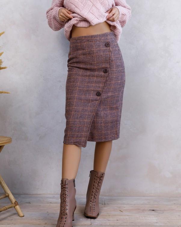 Розовая клетчатая шерстяная юбка с пуговицами (S M L XL)