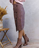 Розовая клетчатая шерстяная юбка с пуговицами (S M L XL), фото 2