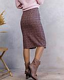 Розовая клетчатая шерстяная юбка с пуговицами (S M L XL), фото 3