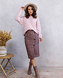 Розовая клетчатая шерстяная юбка с пуговицами (S M L XL), фото 4