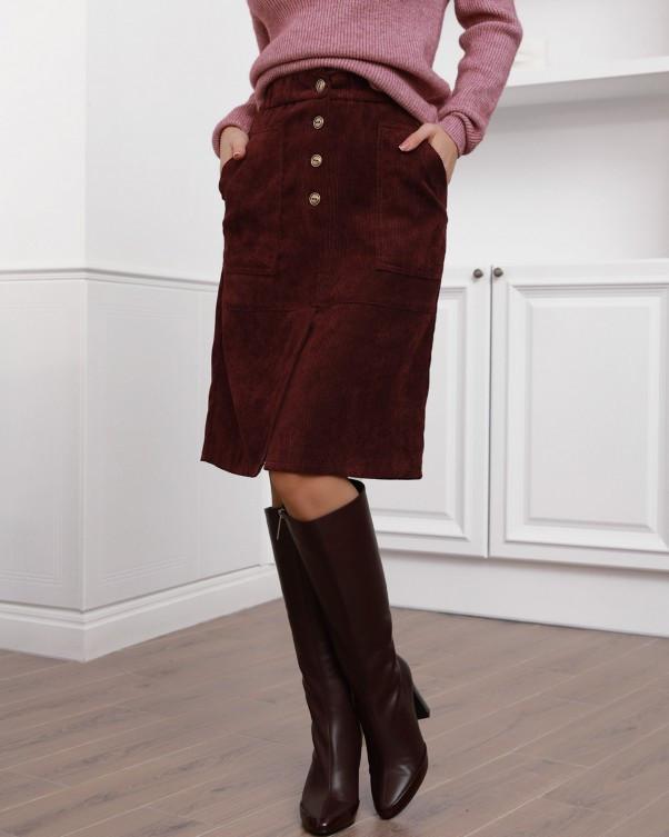 Бордовая вельветовая юбка с накладными карманами (S M L XL XXL) S