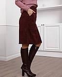 Бордовая вельветовая юбка с накладными карманами (S M L XL XXL) S, фото 2