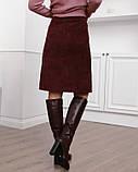 Бордовая вельветовая юбка с накладными карманами (S M L XL XXL) S, фото 3