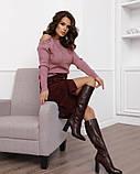Бордовая вельветовая юбка с накладными карманами (S M L XL XXL) S, фото 4