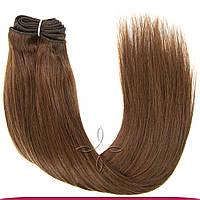 Натуральные азиатские волосы на трессе 50 см 100 грамм, Шоколад №04