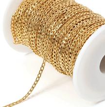 Ланцюжок бижутерийная, ланка 4 х 6 мм, колір - світле золото, 50 см