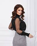 Черная нарядная блуза с воздушными рукавами, фото 2