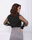 Черная нарядная блуза с воздушными рукавами, фото 3