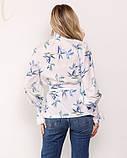 Белая принтованная блуза с жаткой, фото 3