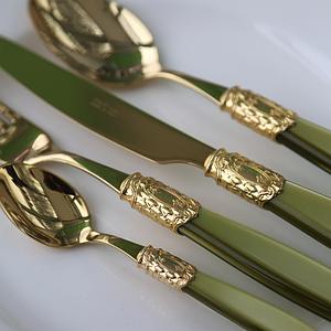 Набор столовых приборов 24 предмета VICTORIA GOLD OLIVE GREEN
