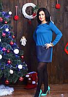 Модное платье прямого кроя в сочетании двух цветов, фото 1