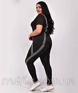 Женский комплект для фитнеса больших размеров 50-56 черный с серыми полосками