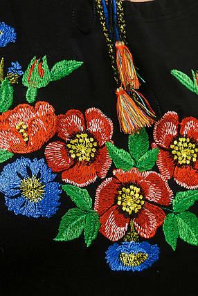 Молодежная вышитая футболка с рукавом 3/4 черного цвета с цветочным орнаментом «Волошкове поле», фото 2