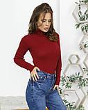 Бордовый фактурный свитер с высоким горлом, фото 2