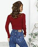 Бордовый фактурный свитер с высоким горлом, фото 3