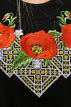 Молодіжна вишита футболка із рукавом 3/4 чорного кольору із квітковим орнаментом «Диво маки», фото 2