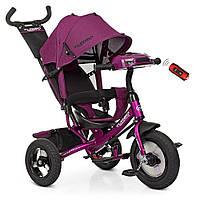 Детский трехколесный колясочный велосипед с фарой, родительской ручкой TURBOTRIKE M 3115HA-18L, фуксия