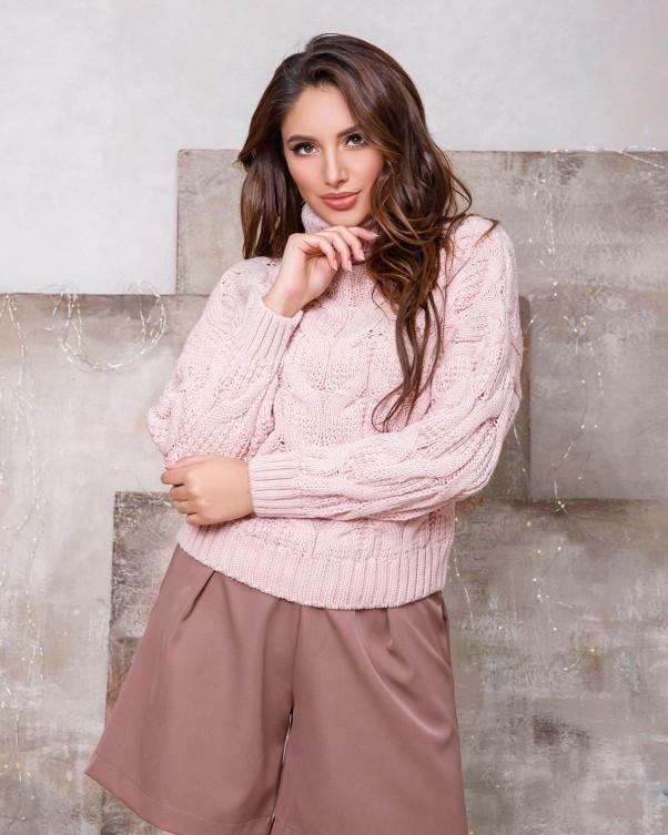 Розовый свитер-гольф объемной вязки (S M)