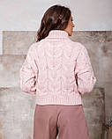 Розовый свитер-гольф объемной вязки (S M), фото 3