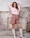 Розовый свитер-гольф объемной вязки (S M), фото 4