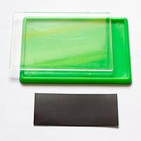Магнит акриловый прямоугольный 95х65 мм. Цвет зеленый