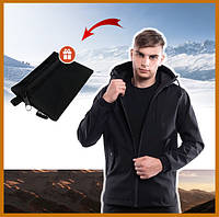 Куртка мужская черная с капюшоном Soft Shell, молодежная куртка стильная демисезонная + подарок